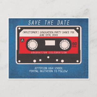 Graduation Party Save The Date Retro Tape Song Announcement Postcard