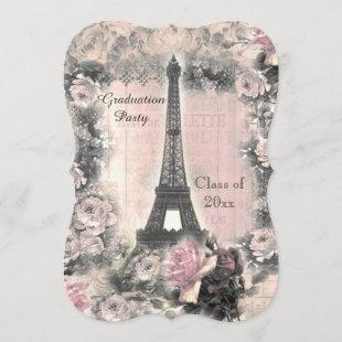 Graduation Party Shabby Chic Eiffel Tower & Roses Invitation