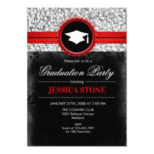 Graduation Party - Silver Black Red Invitation