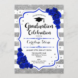 Graduation Party - Silver White Royal Blue Invitation
