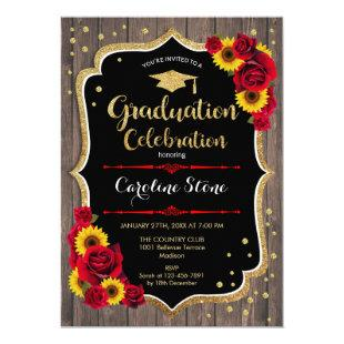 Graduation Party - Sunflowers Roses Rustic Wood Invitation