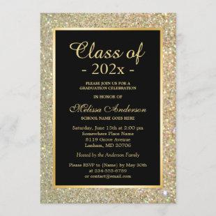 Graduation Party Trendy Gold Glitter Sparkles Invitation