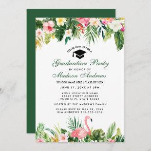 Graduation Party Tropical Floral Green Invitation