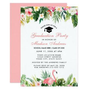 Graduation Party Tropical Floral Pink Invitation
