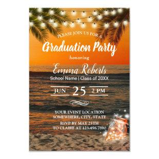 Graduation Party Tropical Summer Sunset Palm Beach Invitation