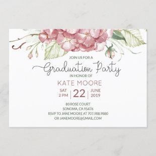 Graduation Party Watercolor Floral Invitation