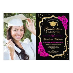 Graduation Party With Photo - Black Gold Hot Pink Invitation