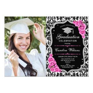 Graduation Party With Photo - Black Pink Silver Invitation