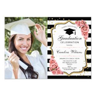 Graduation Party With Photo - Blush Pink Gold Invitation