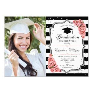 Graduation Party With Photo - Blush Pink Silver Invitation