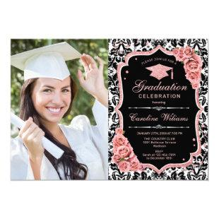 Graduation Party With Photo - Damask Rose Gold Invitation