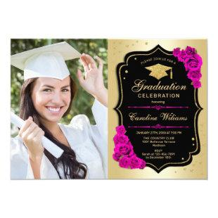 Graduation Party With Photo - Gold Black Hot Pink Invitation