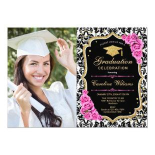 Graduation Party With Photo - Gold Black Pink Invitation