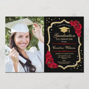 Graduation Party With Photo - Gold Black Red Invitation