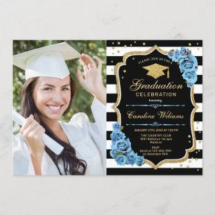 Graduation Party With Photo - Gold Blue Flowers Invitation