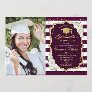 Graduation Party With Photo - Gold Burgundy Invitation