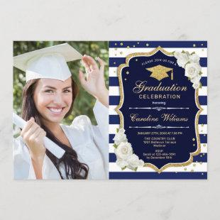 Graduation Party With Photo - Gold Navy White Invitation