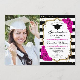 Graduation Party With Photo - Gold Pink White