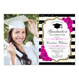 Graduation Party With Photo - Gold Pink White Invitation