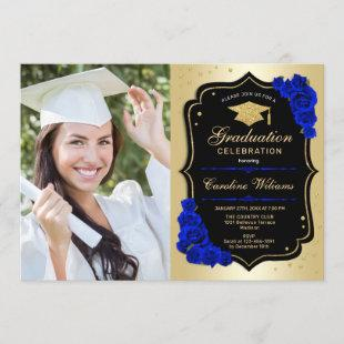 Graduation Party With Photo - Gold Royal Blue Invitation