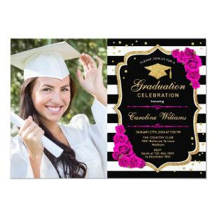 Graduation Party With Photo - Hot Pink Gold Black Invitation