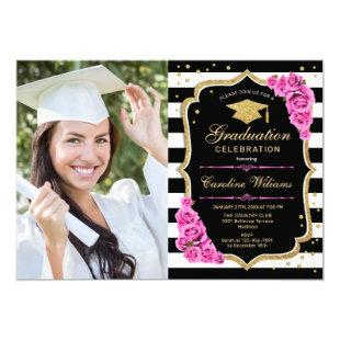 Graduation Party With Photo - Pink Gold Black Invitation