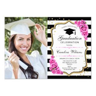 Graduation Party With Photo - Pink Gold White Invitation