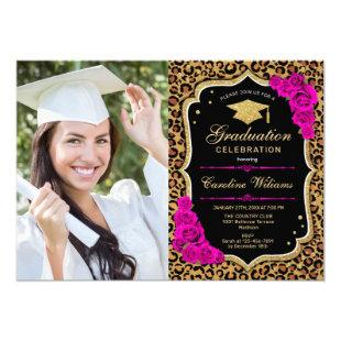 Graduation Party With Photo - Pink Leopard Print Invitation