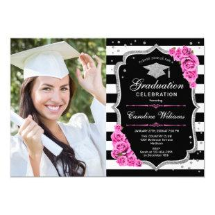 Graduation Party With Photo - Pink Silver Black Invitation