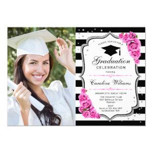 Graduation Party With Photo - Pink Silver White Invitation