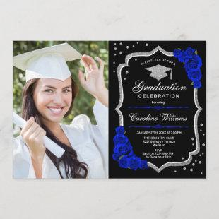 Graduation Party With Photo - Royal Blue Silver Invitation