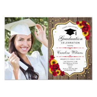Graduation Party With Photo - Rustic Sunflowers Invitation