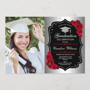 Graduation Party With Photo - Silver Black Red