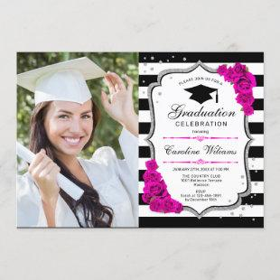 Graduation Party With Photo - Silver Pink White
