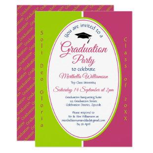 GRADUATION Personalized Christian Pink Green Invitation