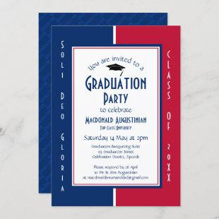 GRADUATION Personalized Christian Red White Blue Invitation