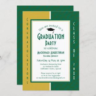 GRADUATION Personalized Green Gold Graduate Invitation