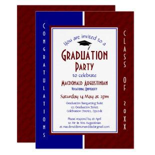 GRADUATION Personalized Maroon Navy Graduate Invitation
