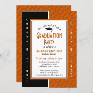 GRADUATION Personalized Orange Black Graduate Invitation