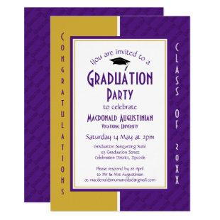 GRADUATION Personalized Purple Gold Graduate Invitation