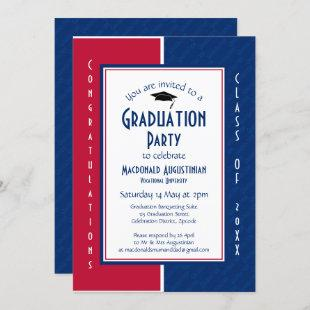 GRADUATION Personalized Red White Blue Graduate Invitation