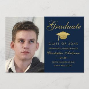 Graduation Photo Gold Script Blue Party Invitation