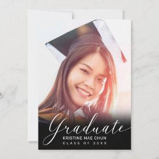 Graduation Photo Modern White Script Black 2020 Announcement