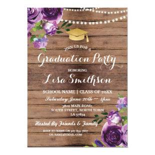 Graduation Purple Flowers Lights Wood Invite
