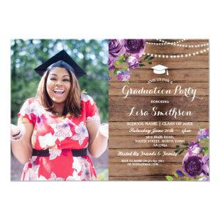 Graduation Purple Flowers Lights Wood Photo Invitation