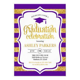 Graduation - Purple Gold Stripes Invitation