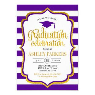 Graduation - Purple Gold White Invitation