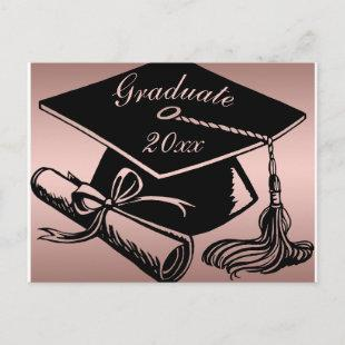 Graduation Rose Gold Black Grad Cap Diploma Announcement Postcard
