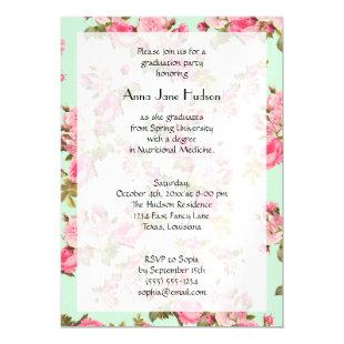 Graduation - Roses, Flowers, Leaves - Pink Green Magnetic Invitation