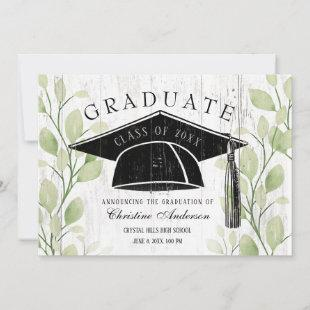 Graduation Rustic Greenery Black Grad Cap 2021 Announcement